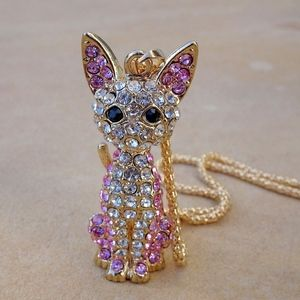 Jewelry - Pink Rhinestone Jewel Cat Pendant Charm Necklace